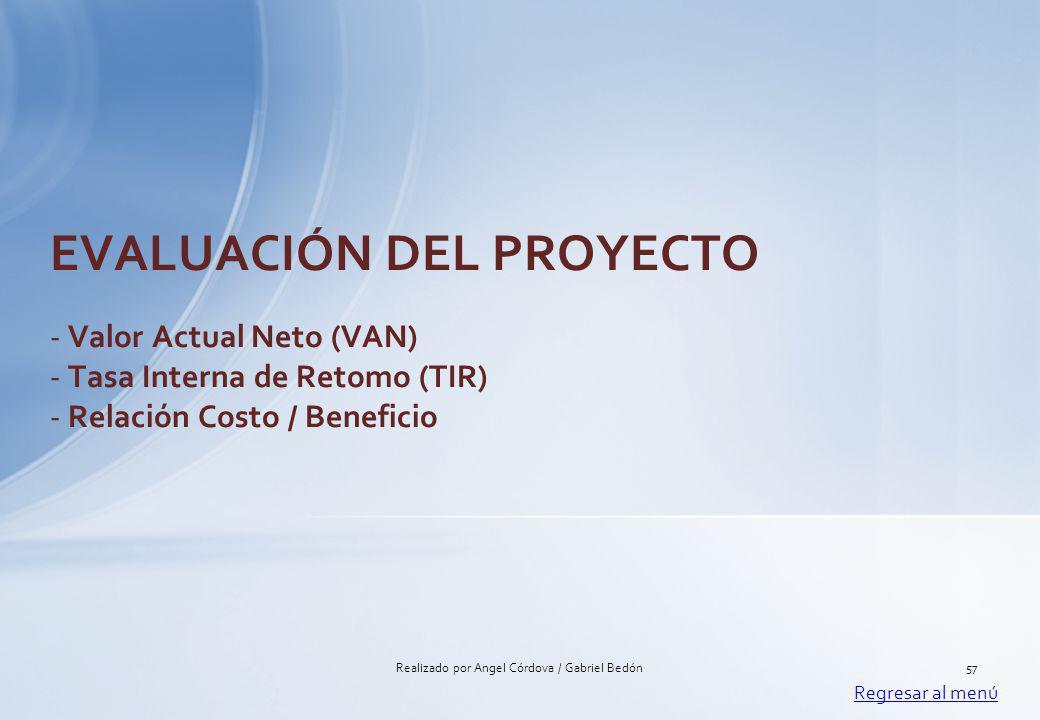 EVALUACIÓN DEL PROYECTO - Valor Actual Neto (VAN) - Tasa Interna de Retomo (TIR) - Relación Costo / Beneficio Regresar al menú 57Realizado por Angel C
