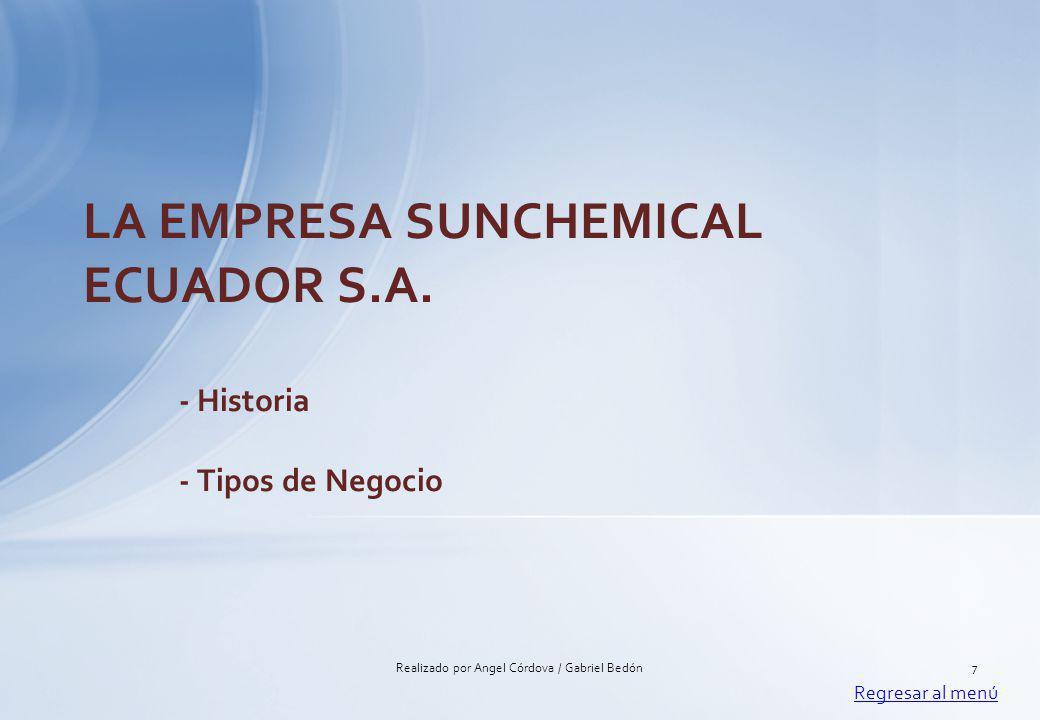 LA EMPRESA SUNCHEMICAL ECUADOR S.A. - Historia - Tipos de Negocio Regresar al menú 7Realizado por Angel Córdova / Gabriel Bedón