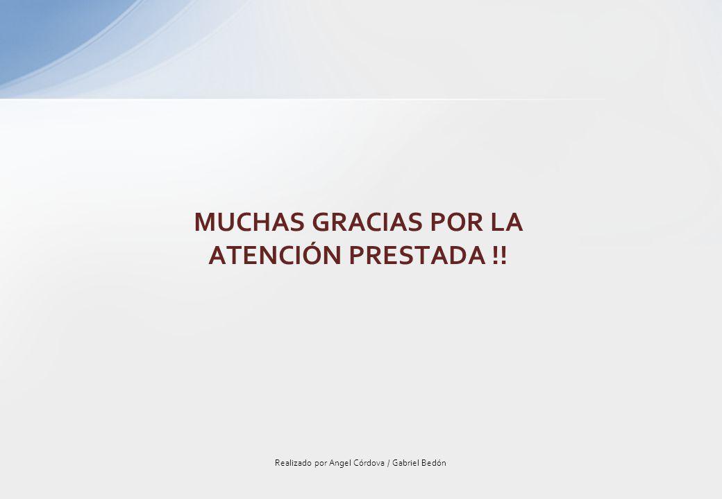 Realizado por Angel Córdova / Gabriel Bedón MUCHAS GRACIAS POR LA ATENCIÓN PRESTADA !!