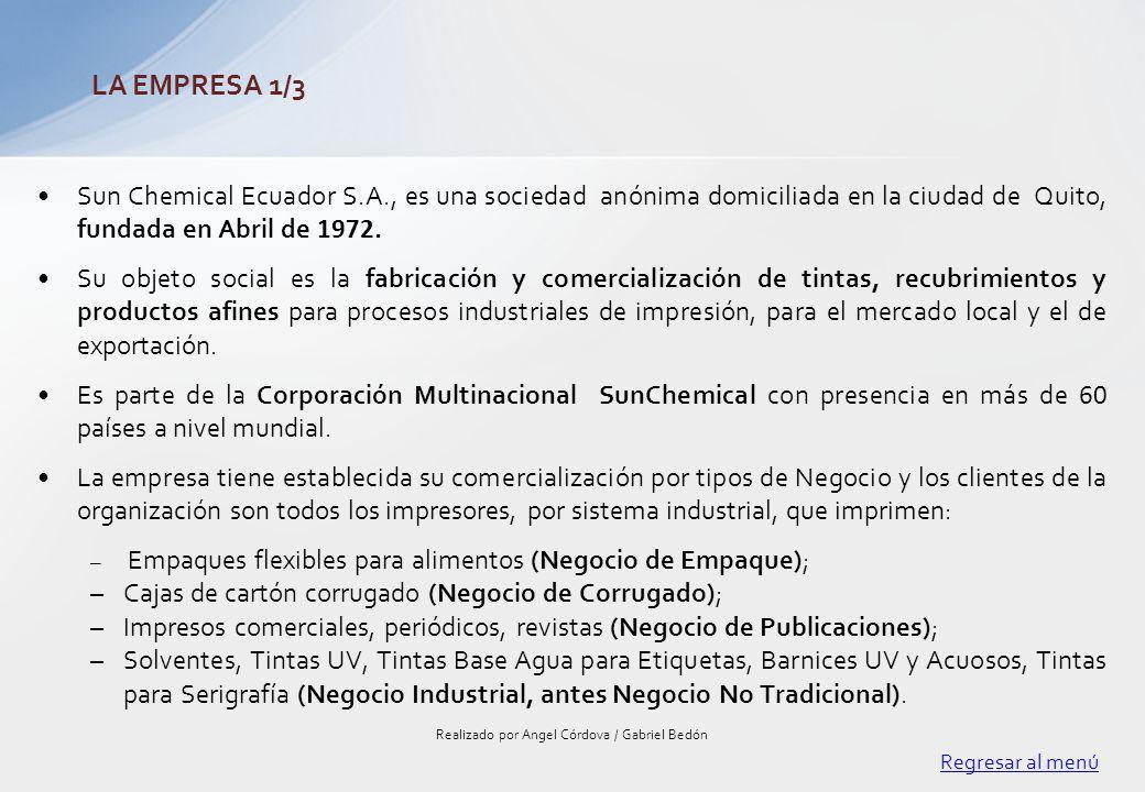Sun Chemical Ecuador S.A., es una sociedad anónima domiciliada en la ciudad de Quito, fundada en Abril de 1972. Su objeto social es la fabricación y c