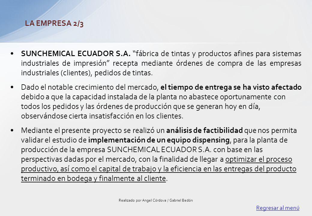 SUNCHEMICAL ECUADOR S.A. fábrica de tintas y productos afines para sistemas industriales de impresión recepta mediante órdenes de compra de las empres