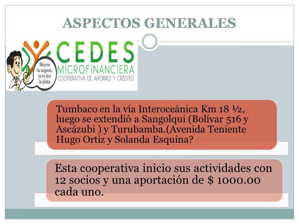 ASPECTOS GENERALES Tumbaco en la vía Interoceánica Km 18 ½, luego se extendió a Sangolqui (Bolívar 516 y Ascázubi ) y Turubamba.(Avenida Teniente Hugo