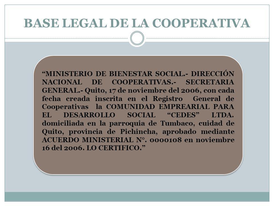 BASE LEGAL DE LA COOPERATIVA MINISTERIO DE BIENESTAR SOCIAL.- DIRECCIÓN NACIONAL DE COOPERATIVAS.- SECRETARIA GENERAL.- Quito, 17 de noviembre del 200
