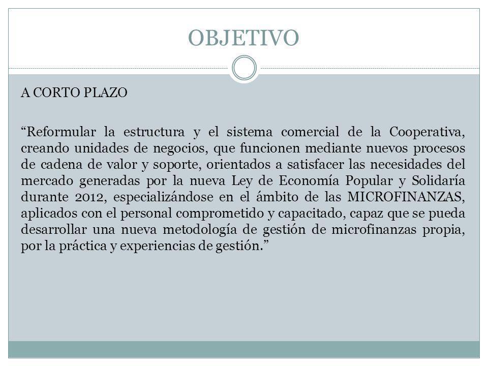 OBJETIVO A CORTO PLAZO Reformular la estructura y el sistema comercial de la Cooperativa, creando unidades de negocios, que funcionen mediante nuevos