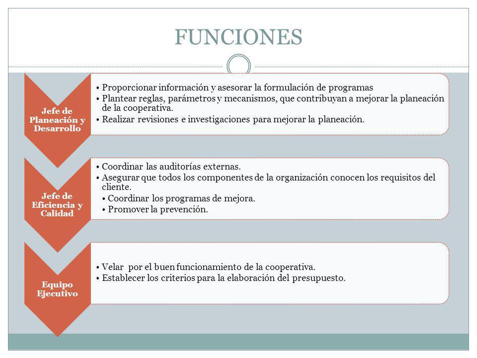 FUNCIONES Jefe de Planeación y Desarrollo Proporcionar información y asesorar la formulación de programas Plantear reglas, parámetros y mecanismos, qu