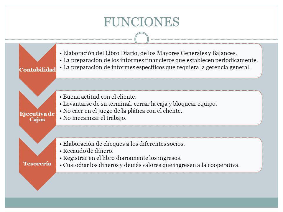 FUNCIONES Contabilidad Elaboración del Libro Diario, de los Mayores Generales y Balances. La preparación de los informes financieros que establecen pe