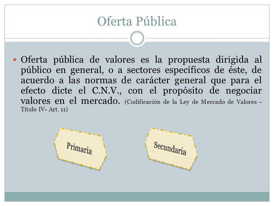 Oferta Pública Oferta pública de valores es la propuesta dirigida al público en general, o a sectores específicos de éste, de acuerdo a las normas de