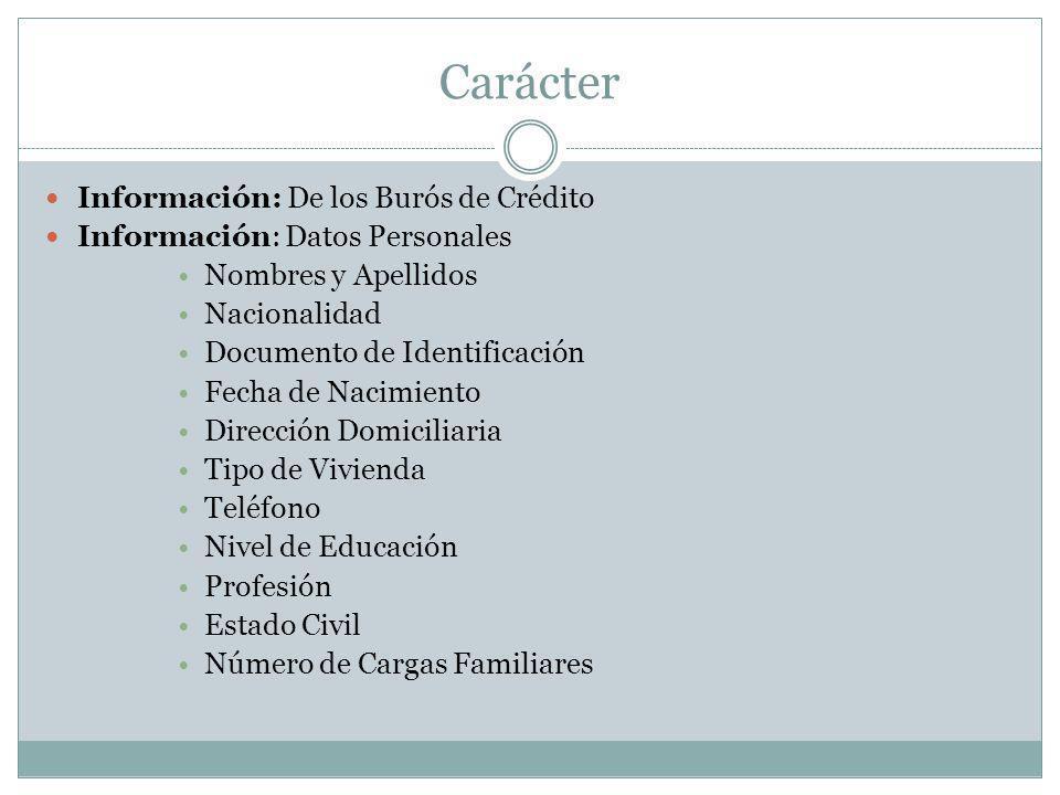 Carácter Información: De los Burós de Crédito Información: Datos Personales Nombres y Apellidos Nacionalidad Documento de Identificación Fecha de Naci
