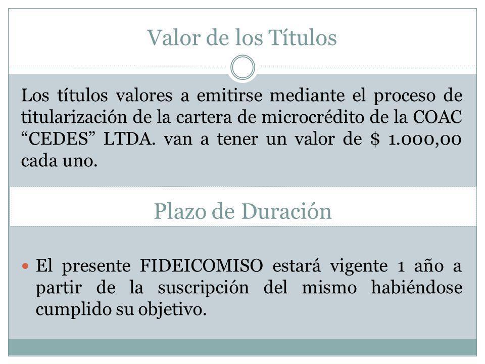 Valor de los Títulos Los títulos valores a emitirse mediante el proceso de titularización de la cartera de microcrédito de la COAC CEDES LTDA. van a t