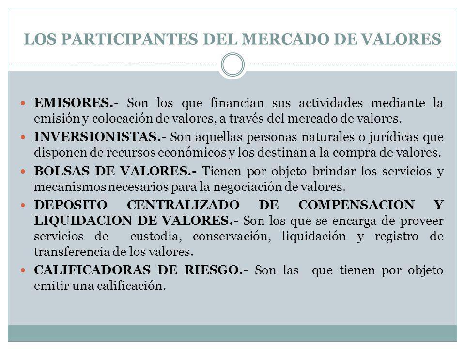 LOS PARTICIPANTES DEL MERCADO DE VALORES EMISORES.- Son los que financian sus actividades mediante la emisión y colocación de valores, a través del me