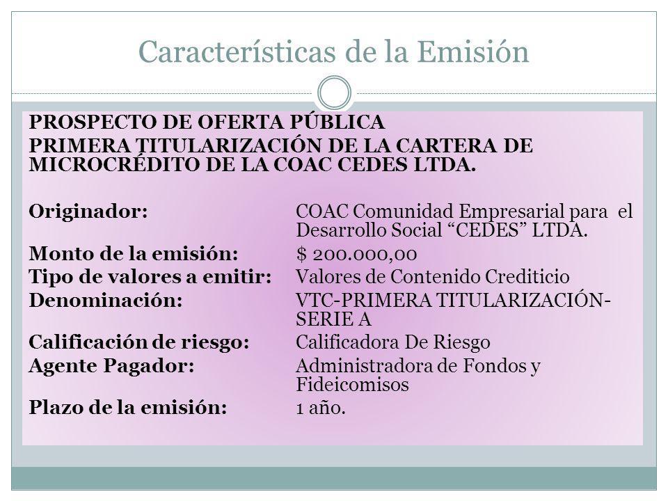 Características de la Emisión PROSPECTO DE OFERTA PÚBLICA PRIMERA TITULARIZACIÓN DE LA CARTERA DE MICROCRÉDITO DE LA COAC CEDES LTDA. Originador:COAC