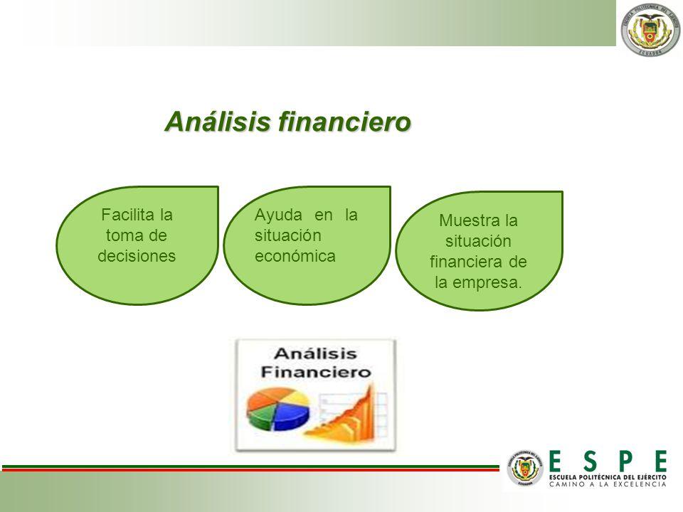 Análisis financiero Facilita la toma de decisiones Ayuda en la situación económica Muestra la situación financiera de la empresa.