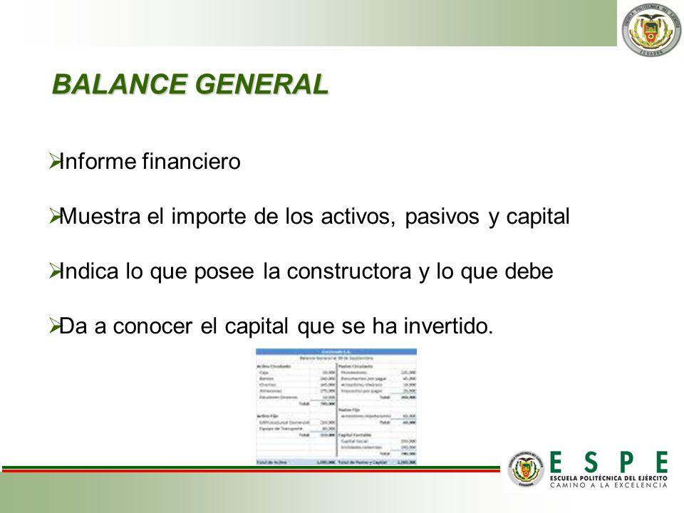 BALANCE GENERAL BALANCE GENERAL Informe financiero Muestra el importe de los activos, pasivos y capital Indica lo que posee la constructora y lo que d