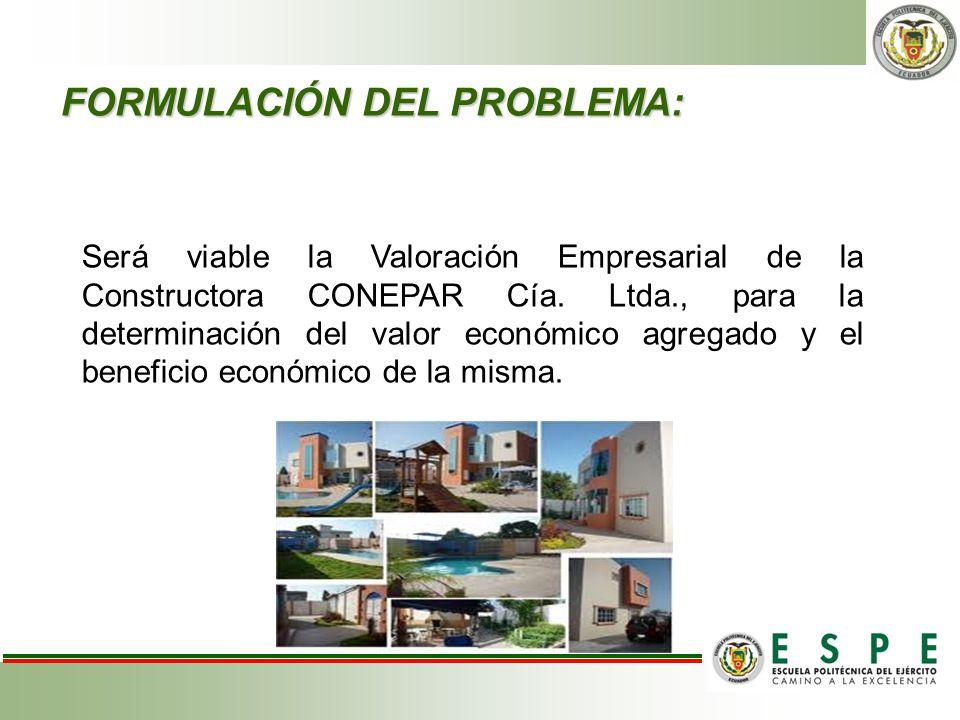 FORMULACIÓN DEL PROBLEMA: Será viable la Valoración Empresarial de la Constructora CONEPAR Cía. Ltda., para la determinación del valor económico agreg