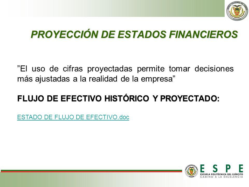 PROYECCIÓN DE ESTADOS FINANCIEROS El uso de cifras proyectadas permite tomar decisiones más ajustadas a la realidad de la empresa FLUJO DE EFECTIVO HI