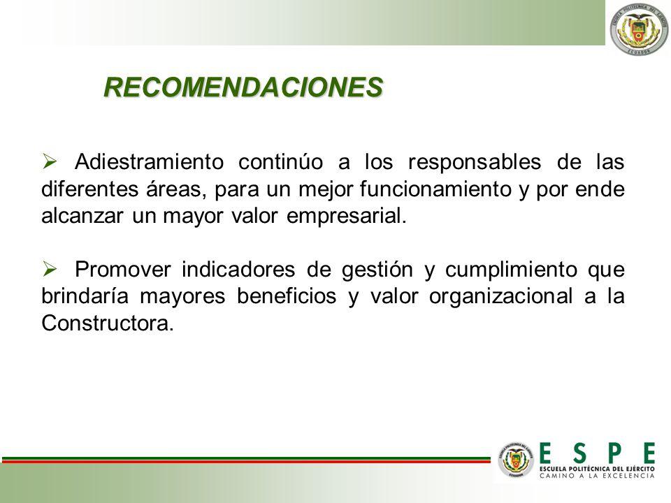 RECOMENDACIONES Adiestramiento continúo a los responsables de las diferentes áreas, para un mejor funcionamiento y por ende alcanzar un mayor valor em