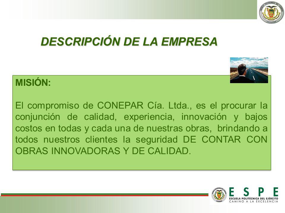 DESCRIPCIÓN DE LA EMPRESA DESCRIPCIÓN DE LA EMPRESA MISIÓN: El compromiso de CONEPAR Cía. Ltda., es el procurar la conjunción de calidad, experiencia,