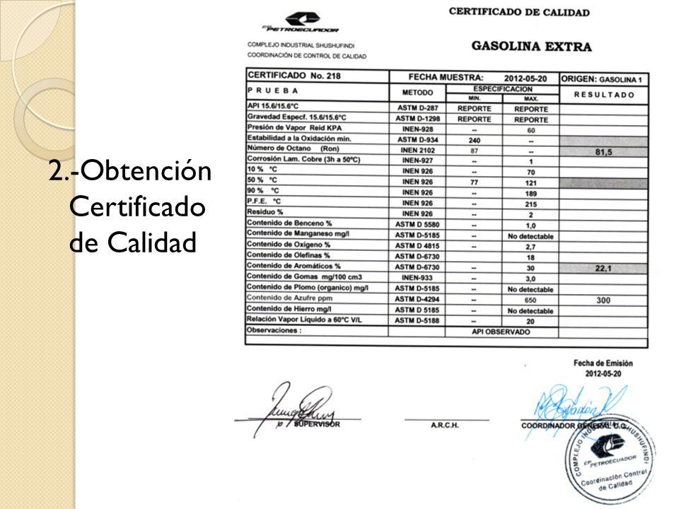 2.-Obtención Certificado de Calidad