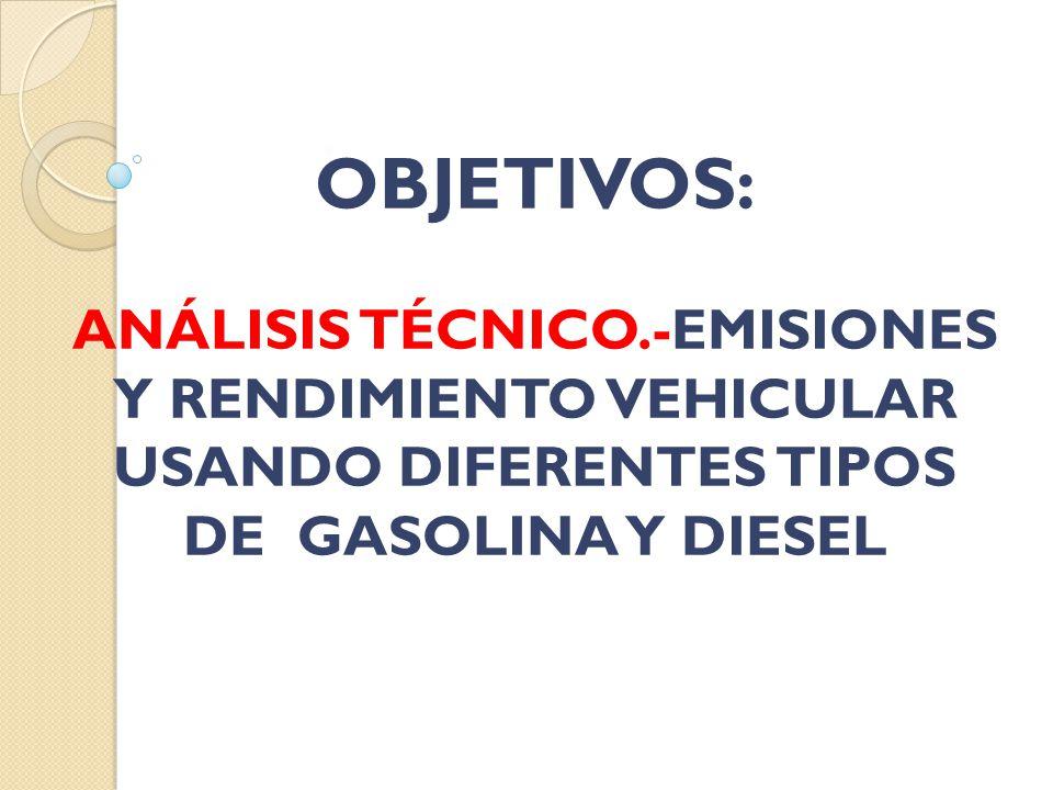 OBJETIVOS: ANÁLISIS TÉCNICO.-EMISIONES Y RENDIMIENTO VEHICULAR USANDO DIFERENTES TIPOS DE GASOLINA Y DIESEL
