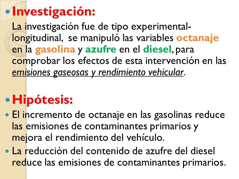 Investigación: La investigación fue de tipo experimental- longitudinal, se manipuló las variables octanaje en la gasolina y azufre en el diesel, para