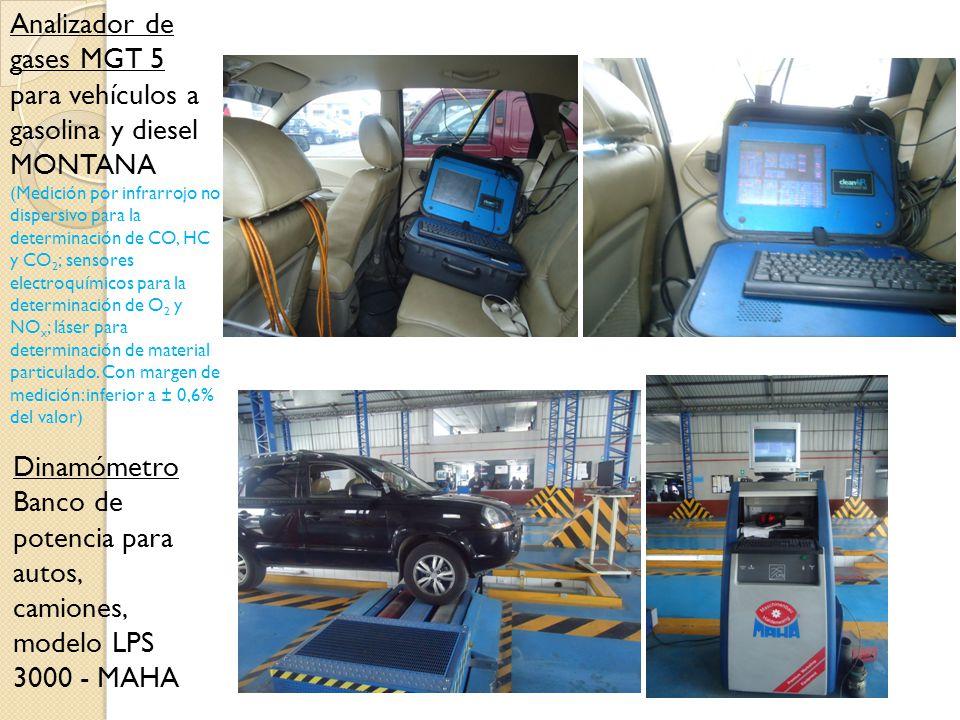 Analizador de gases MGT 5 para vehículos a gasolina y diesel MONTANA (Medición por infrarrojo no dispersivo para la determinación de CO, HC y CO 2 ; s