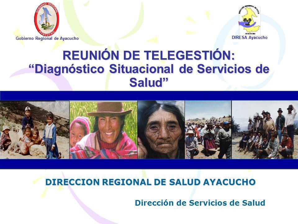 REUNIÓN DE TELEGESTIÓN: Diagnóstico Situacional de Servicios de Salud Gobierno Regional de Ayacucho DIRESA Ayacucho DIRECCION REGIONAL DE SALUD AYACUC