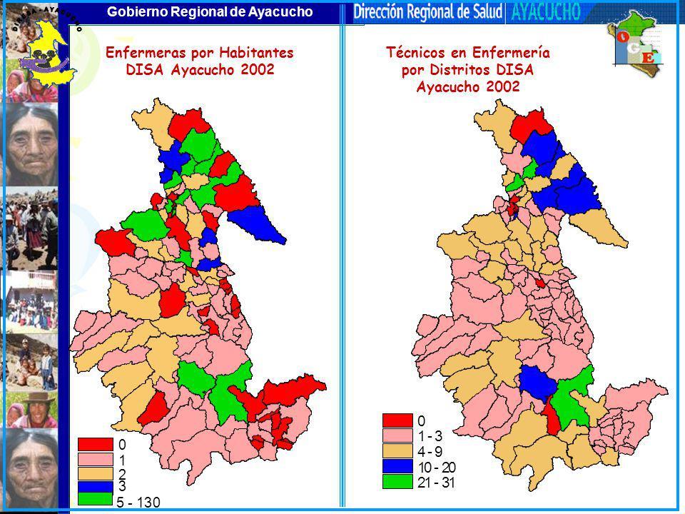 Gobierno Regional de Ayacucho Técnicos en Enfermería por Distritos DISA Ayacucho 2002 0 1 - 3 4 - 9 10 - 20 21 - 31 Enfermeras por Habitantes DISA Aya