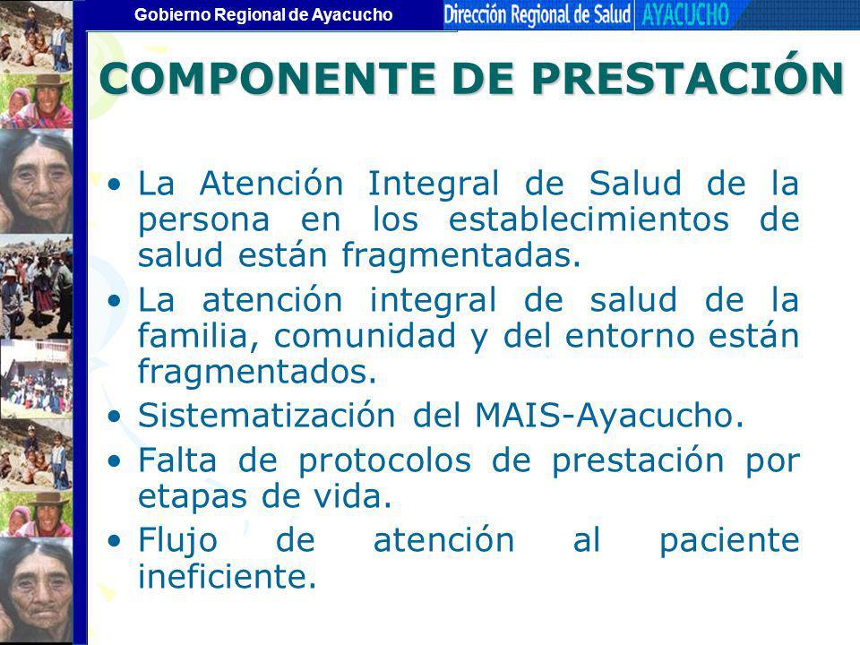 Gobierno Regional de Ayacucho COMPONENTE DE PRESTACIÓN La Atención Integral de Salud de la persona en los establecimientos de salud están fragmentadas