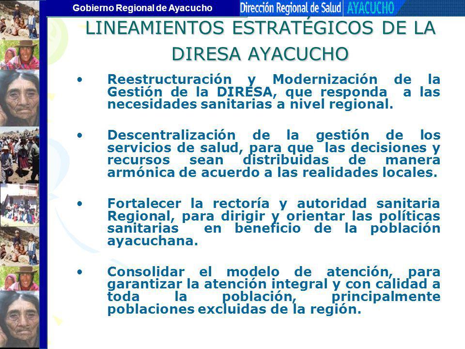 Gobierno Regional de Ayacucho LINEAMIENTOS ESTRATÉGICOS DE LA DIRESA AYACUCHO Reestructuración y Modernización de la Gestión de la DIRESA, que respond