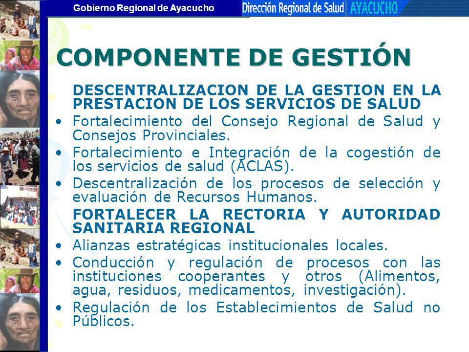 Gobierno Regional de Ayacucho COMPONENTE DE GESTIÓN DESCENTRALIZACION DE LA GESTION EN LA PRESTACION DE LOS SERVICIOS DE SALUD Fortalecimiento del Con