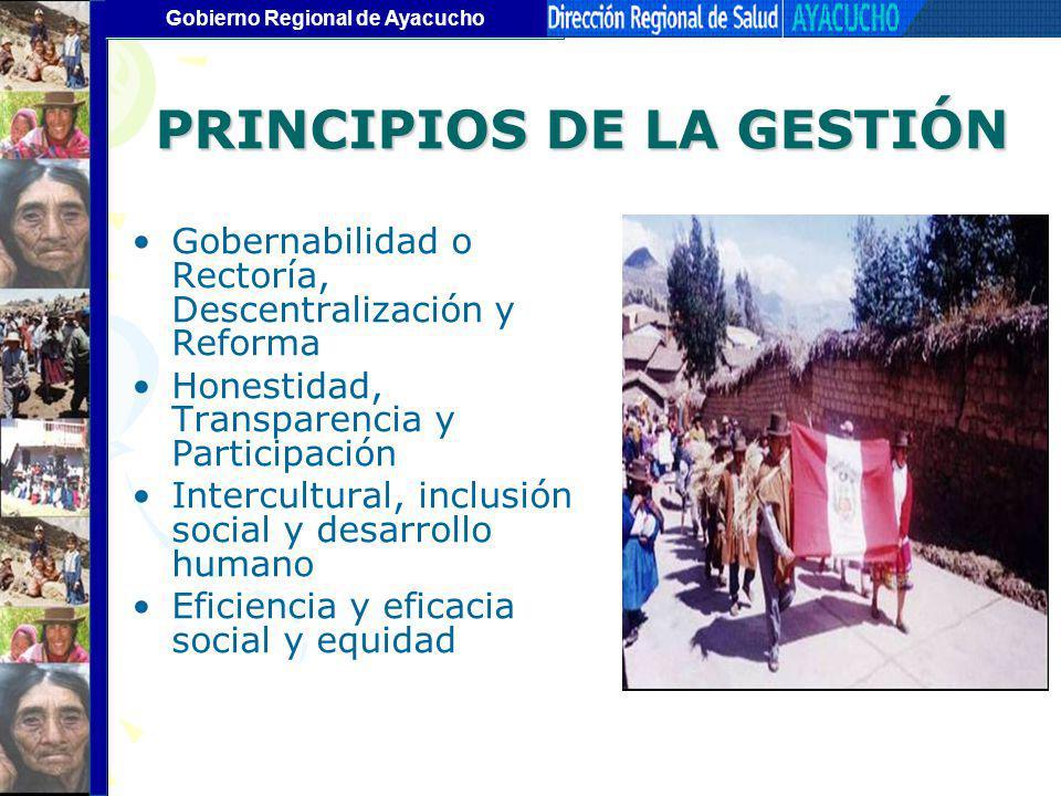 Gobierno Regional de Ayacucho Gobernabilidad o Rectoría, Descentralización y Reforma Honestidad, Transparencia y Participación Intercultural, inclusió