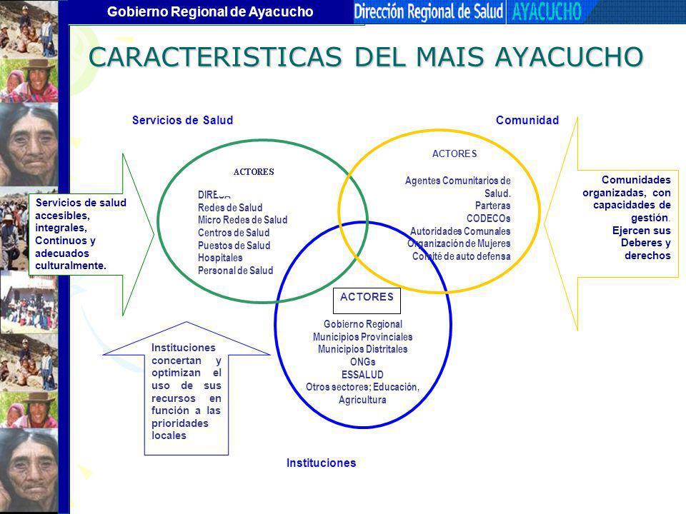 Gobierno Regional de Ayacucho Instituciones ComunidadServicios de Salud DIRESA Redes de Salud Micro Redes de Salud Centros de Salud Puestos de Salud H