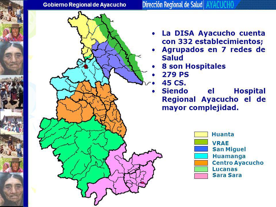 Gobierno Regional de Ayacucho La DISA Ayacucho cuenta con 332 establecimientos; Agrupados en 7 redes de Salud 8 son Hospitales 279 PS 45 CS. Siendo el