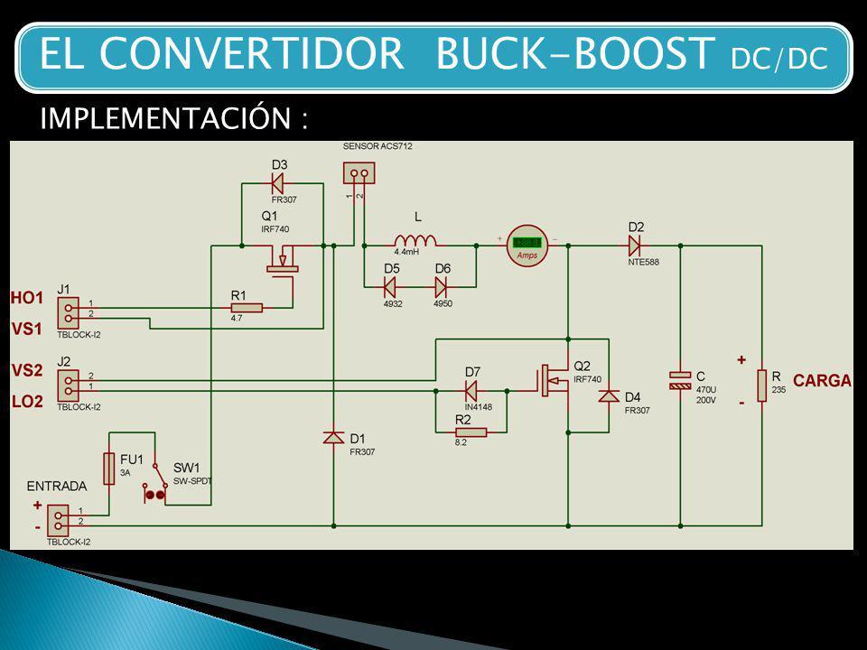 EL CONVERTIDOR BUCK-BOOST DC/DC IMPLEMENTACIÓN :