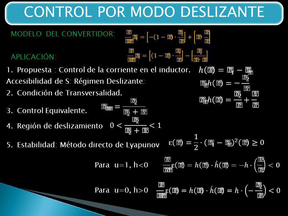 CONTROL POR MODO DESLIZANTE APLICACIÓN: 1.Propuesta : Control de la corriente en el inductor.