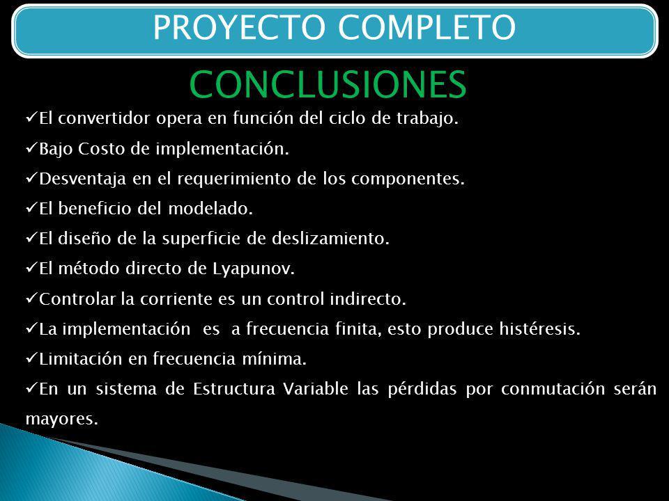 PROYECTO COMPLETO CONCLUSIONES El convertidor opera en función del ciclo de trabajo.
