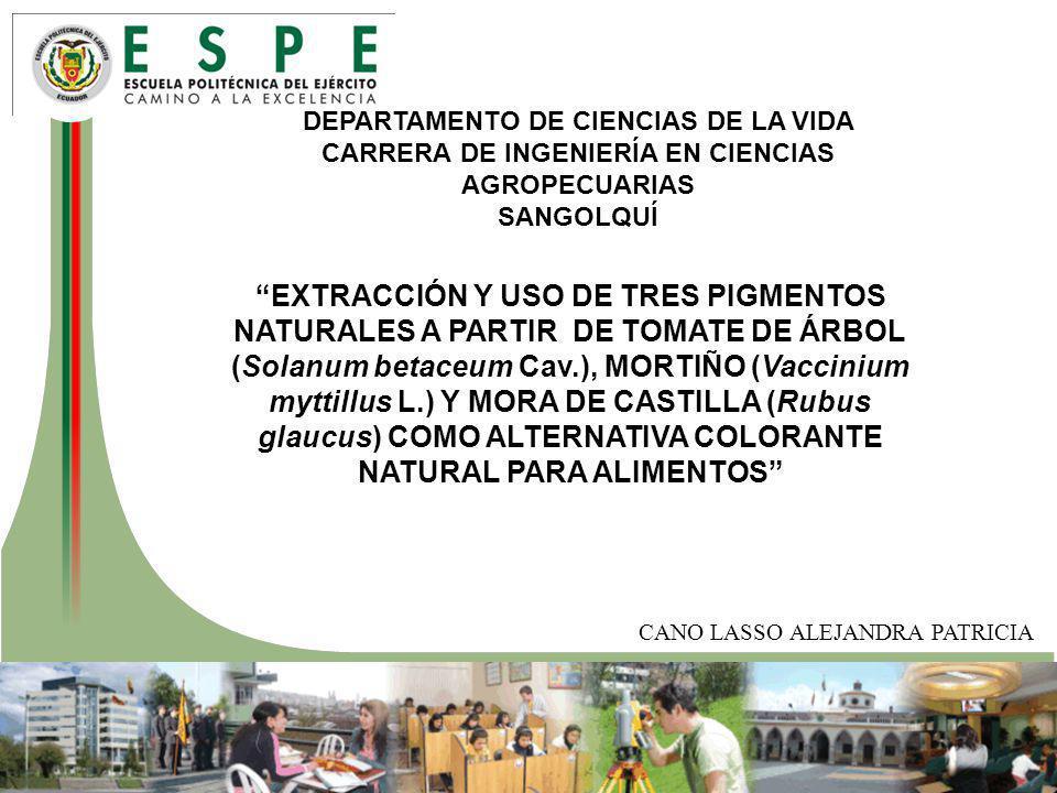 DEPARTAMENTO DE CIENCIAS DE LA VIDA CARRERA DE INGENIERÍA EN CIENCIAS AGROPECUARIAS SANGOLQUÍ EXTRACCIÓN Y USO DE TRES PIGMENTOS NATURALES A PARTIR DE