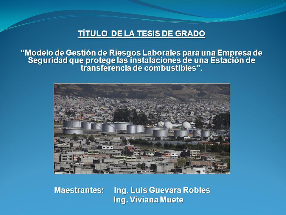 TÍTULO DE LA TESIS DE GRADO Modelo de Gestión de Riesgos Laborales para una Empresa de Seguridad que protege las instalaciones de una Estación de tran