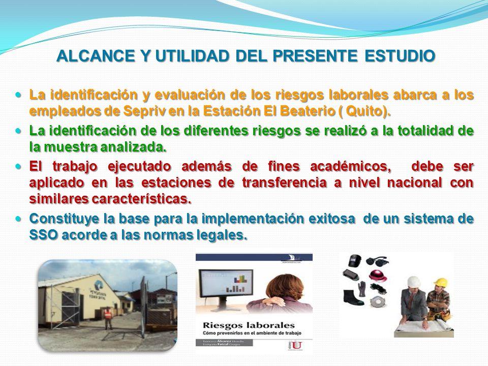 ALCANCE Y UTILIDAD DEL PRESENTE ESTUDIO ALCANCE Y UTILIDAD DEL PRESENTE ESTUDIO La identificación y evaluación de los riesgos laborales abarca a los e