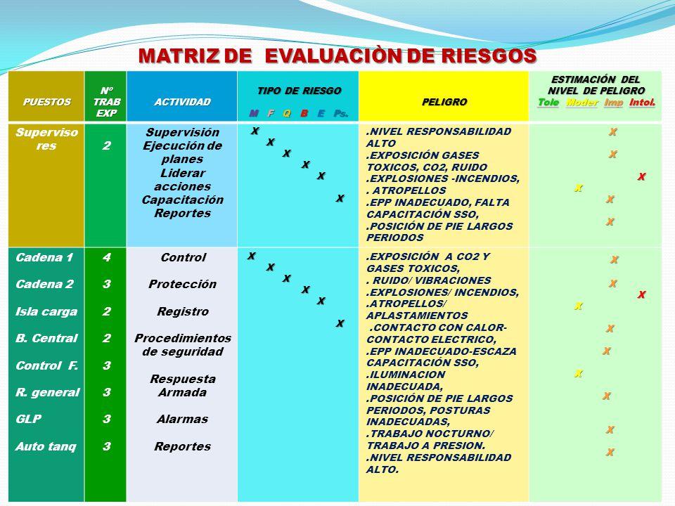 MATRIZ DE EVALUACIÒN DE RIESGOS PUESTOS Nº TRAB EXP ACTIVIDAD TIPO DE RIESGO M F Q B E Ps. PELIGRO ESTIMACIÓN DEL NIVEL DE PELIGRO Tole Moder Imp Into