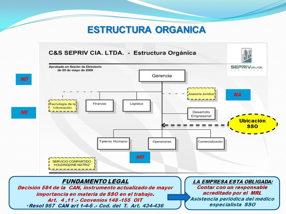 ESTRUCTURA ORGANICA FUNDAMENTO LEGAL Decisión 584 de la CAN, instrumento actualizado de mayor importancia en materia de SSO en el trabajo. Art. 4,11.-