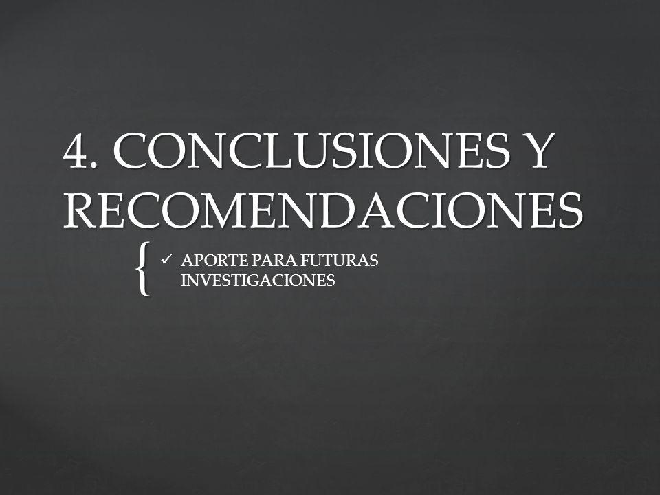 { 4. CONCLUSIONES Y RECOMENDACIONES APORTE PARA FUTURAS INVESTIGACIONES