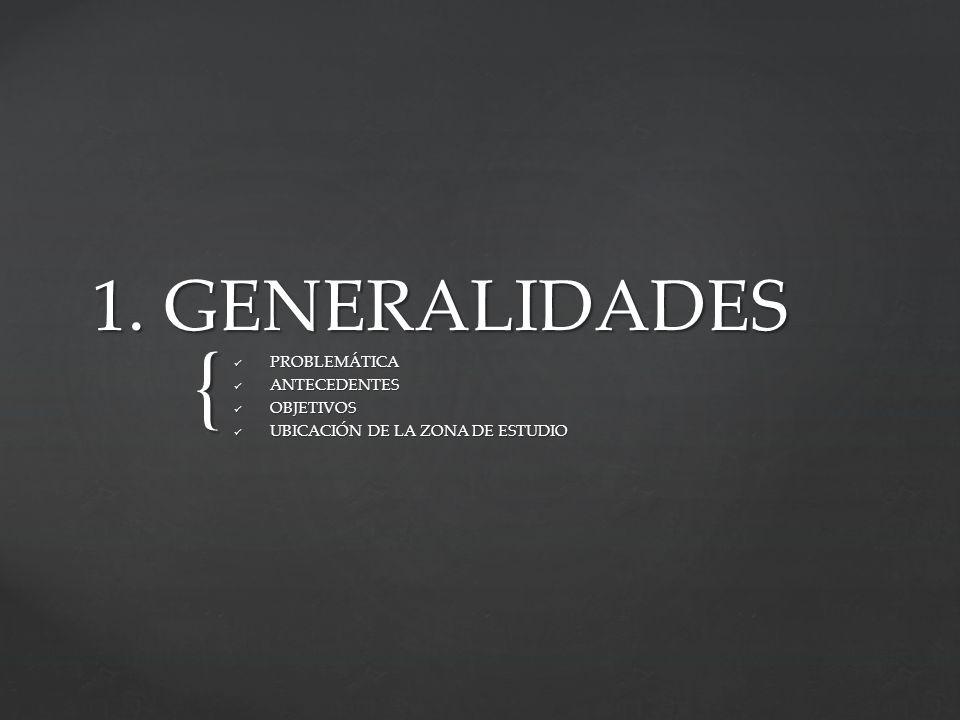 { 1. GENERALIDADES PROBLEMÁTICA PROBLEMÁTICA ANTECEDENTES ANTECEDENTES OBJETIVOS OBJETIVOS UBICACIÓN DE LA ZONA DE ESTUDIO UBICACIÓN DE LA ZONA DE EST