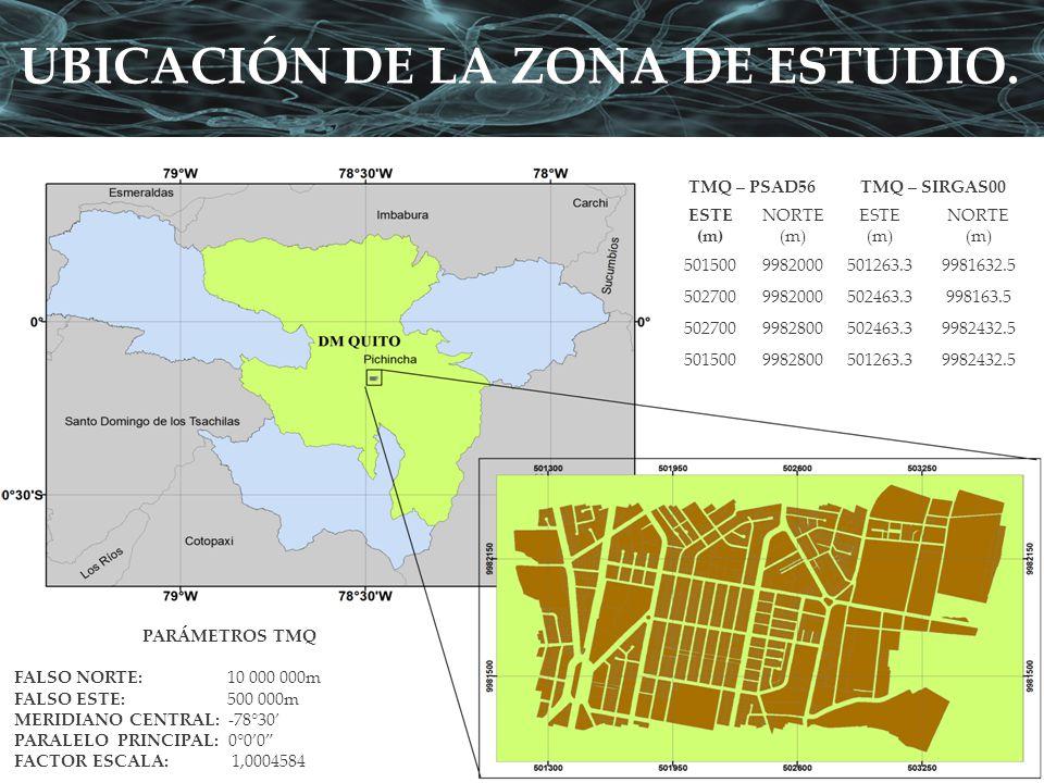 UBICACIÓN DE LA ZONA DE ESTUDIO. TMQ – PSAD56TMQ – SIRGAS00 ESTE (m) NORTE (m) ESTE (m) NORTE (m) 5015009982000501263.39981632.5 5027009982000502463.3