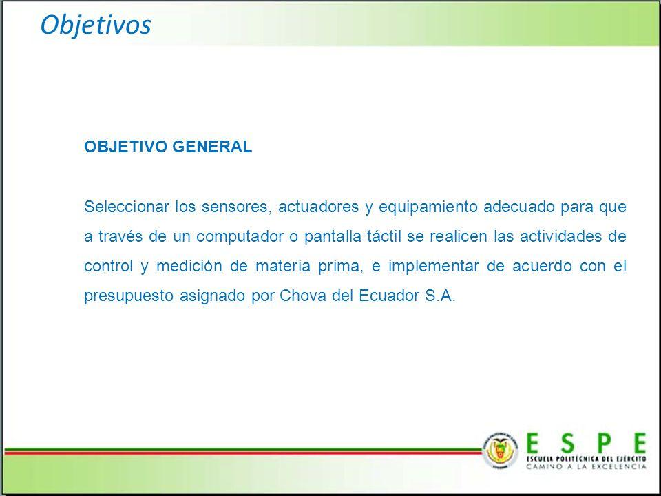 Objetivos OBJETIVO GENERAL Seleccionar los sensores, actuadores y equipamiento adecuado para que a través de un computador o pantalla táctil se realicen las actividades de control y medición de materia prima, e implementar de acuerdo con el presupuesto asignado por Chova del Ecuador S.A.