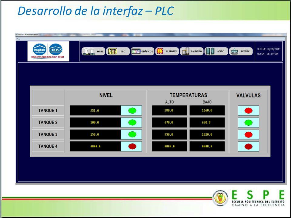 Desarrollo de la interfaz – PLC