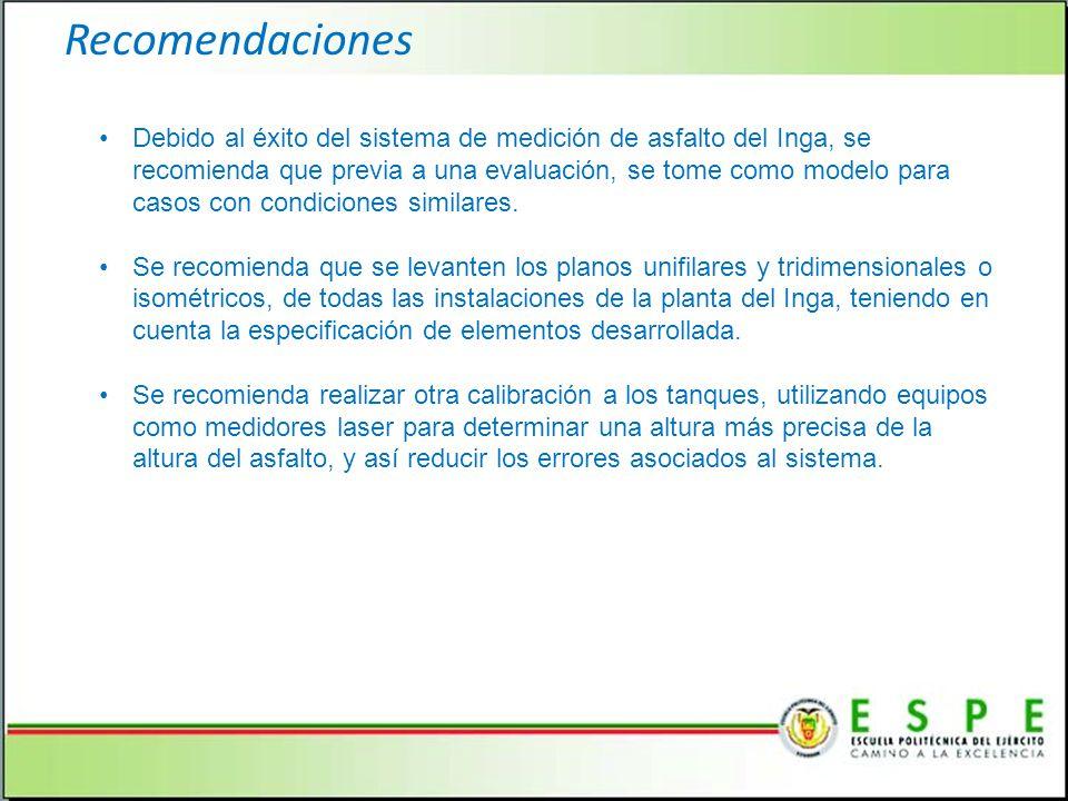 Recomendaciones Debido al éxito del sistema de medición de asfalto del Inga, se recomienda que previa a una evaluación, se tome como modelo para casos con condiciones similares.