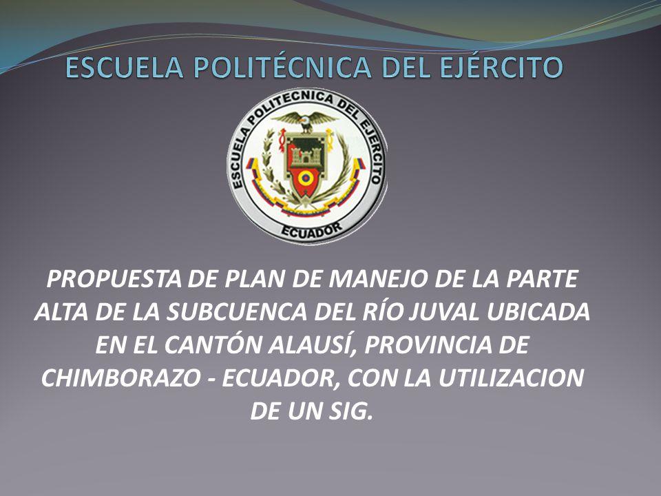 PROPUESTA DE PLAN DE MANEJO DE LA PARTE ALTA DE LA SUBCUENCA DEL RÍO JUVAL UBICADA EN EL CANTÓN ALAUSÍ, PROVINCIA DE CHIMBORAZO - ECUADOR, CON LA UTIL
