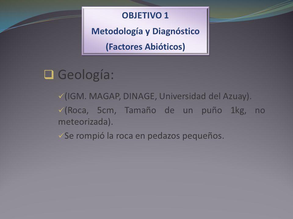 OBJETIVO 1 Metodología y Diagnóstico (Factores Abióticos) OBJETIVO 1 Metodología y Diagnóstico (Factores Abióticos) Geología: (IGM. MAGAP, DINAGE, Uni