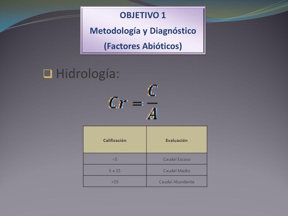 OBJETIVO 1 Metodología y Diagnóstico (Factores Abióticos) OBJETIVO 1 Metodología y Diagnóstico (Factores Abióticos) Hidrología: CalificaciónEvaluación